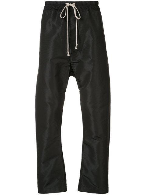 Rick Owens Drop Crotch Track Pants In Black