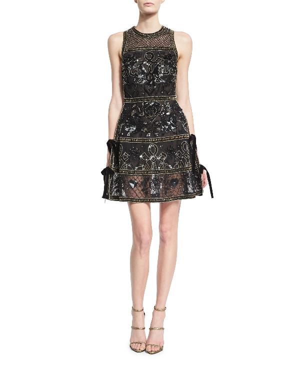 Elie Saab Embellished Cocktail Dress With Velvet Ties, Black/Gold