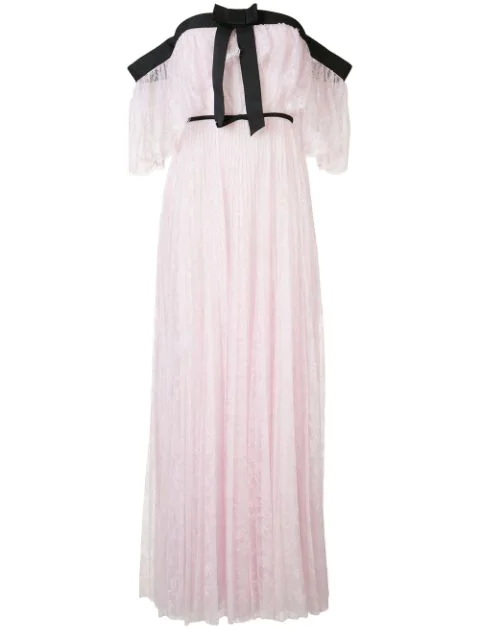 Giambattista Valli Off-The-Shoulder Chantilly Lace Gown In Pink