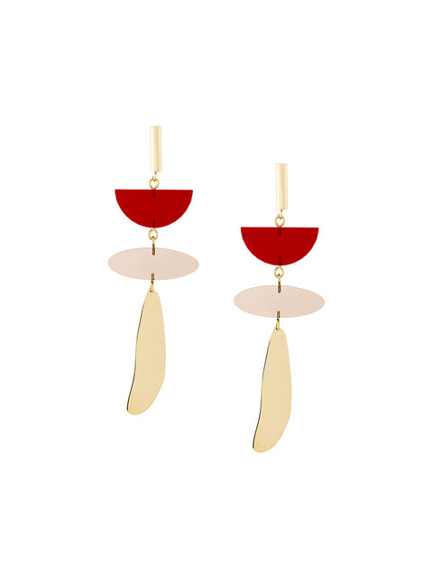 Isabel Marant 'Other Potatoes' Brass And Acrylic Drop Earrings In Scarlet-Red