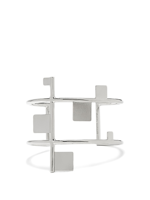Isabel Marant Geometric-Embellished Double-Band Cuff In Silver