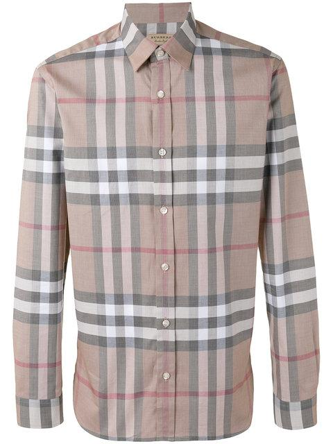 Burberry Checked Shirt In Camel