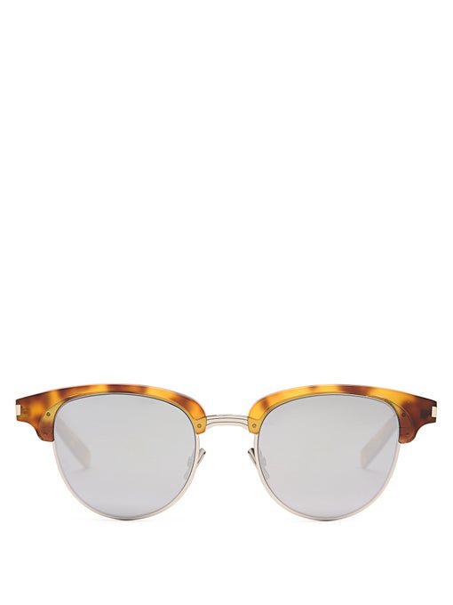 Saint Laurent 50Mm Clubmaster Sunglasses In Silver Multi