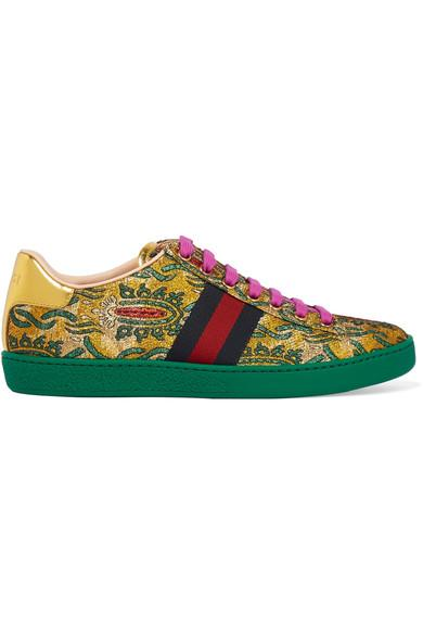 Gucci Ace Metallic Leather-Trimmed Brocade Sneakers In Green