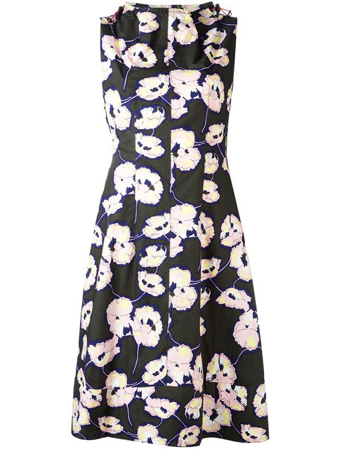 Marni Floral Toggle Neck Dress