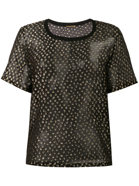 Saint Laurent Embroidered Top - Black