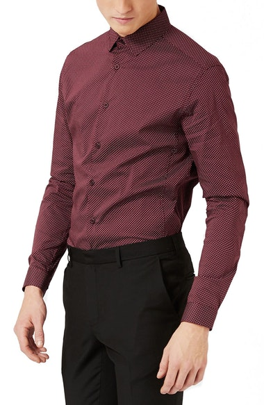 Topman Dot Dress Shirt In Burgundy