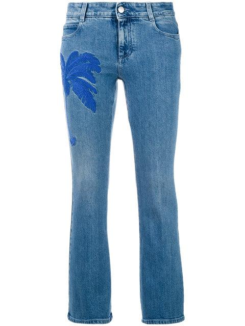 Stella Mccartney Palm Tree Embroidered Flared Jeans In Blue