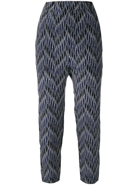 Marni Woman Printed Silk Crepe De Chine Tapered Pants Midnight Blue