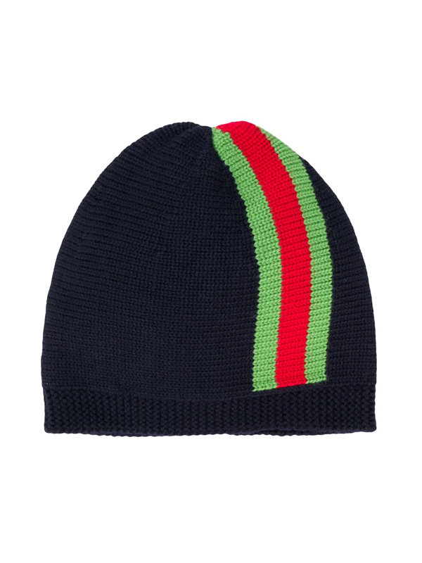 Gucci Babies' Kids Web-stripe Knitted Beanie 4-14 Years In Blue