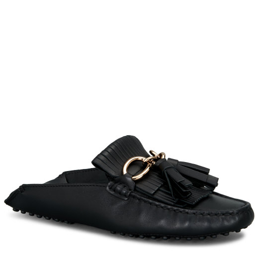 Tod's Gommino Pantofola Fringed Driving Shoe In Black