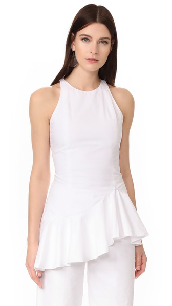 Paper London Double Peplum Glory Top In White