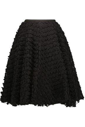 Rochas Woman Crepe And AppliquÉD Organza Skirt Black