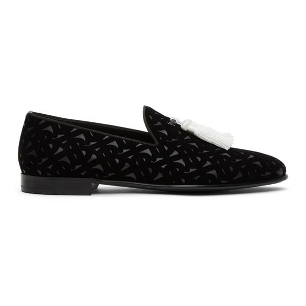 Burberry Contrast Tassel Monogram Flocked Leather Loafers In Black