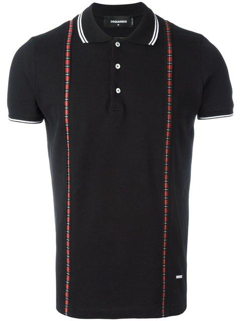 Dsquared2 Brace Effect Polo Shirt In Black
