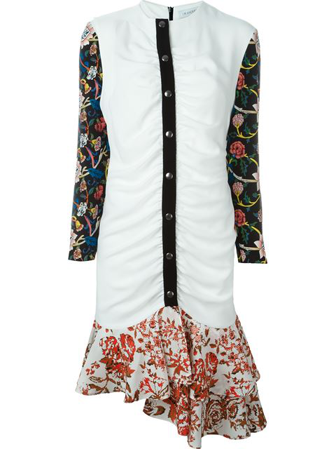 Jw Anderson Floral Print Ruched Dress In White