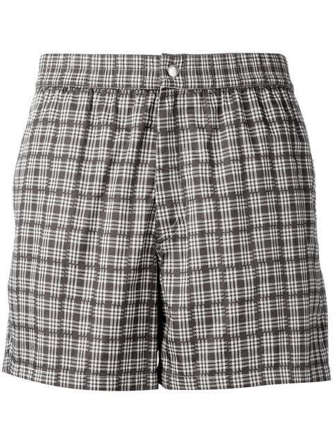 Brioni Checked Swimming Shorts - Brown