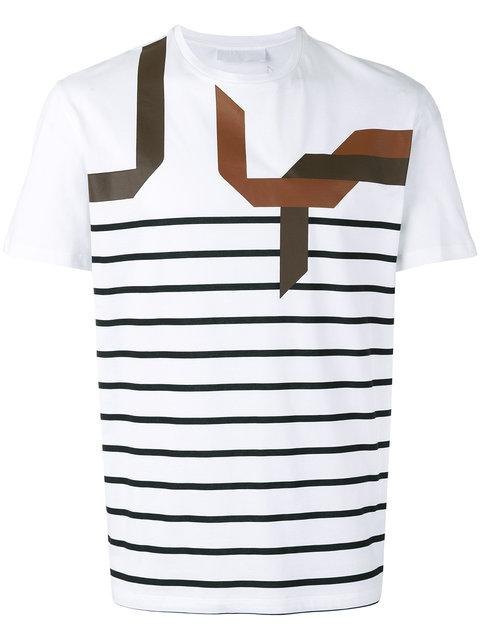 Neil Barrett Abstract Striped T-Shirt In White