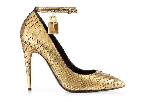 Tom Ford Python Pump With Ankle Strap And Lock In Antiquegold