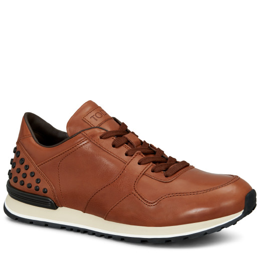 Tod's Gommini Leather Sneakers In Brown