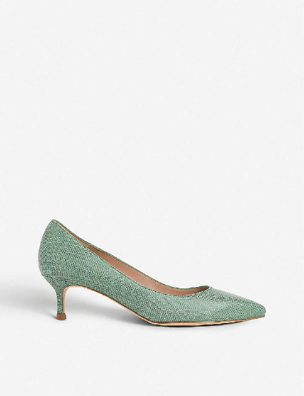 Lk Bennett Audrey Lizard-print Leather Courts In Gre-juniper
