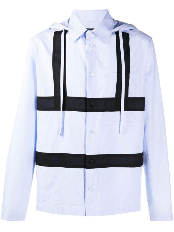 Craig Green Cotton Panelled Hooded Shirt In Blue