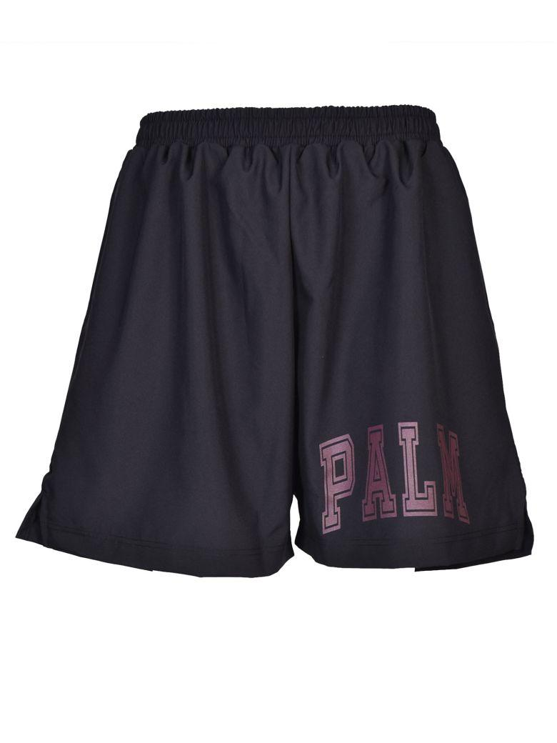 Palm Angels College Soccer Shorts In Black-Bordeaux