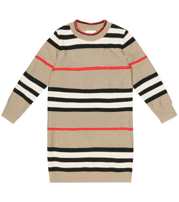 Burberry Kids' Archive Beige Icon Stripe Wool/cashmere Jumper Dress