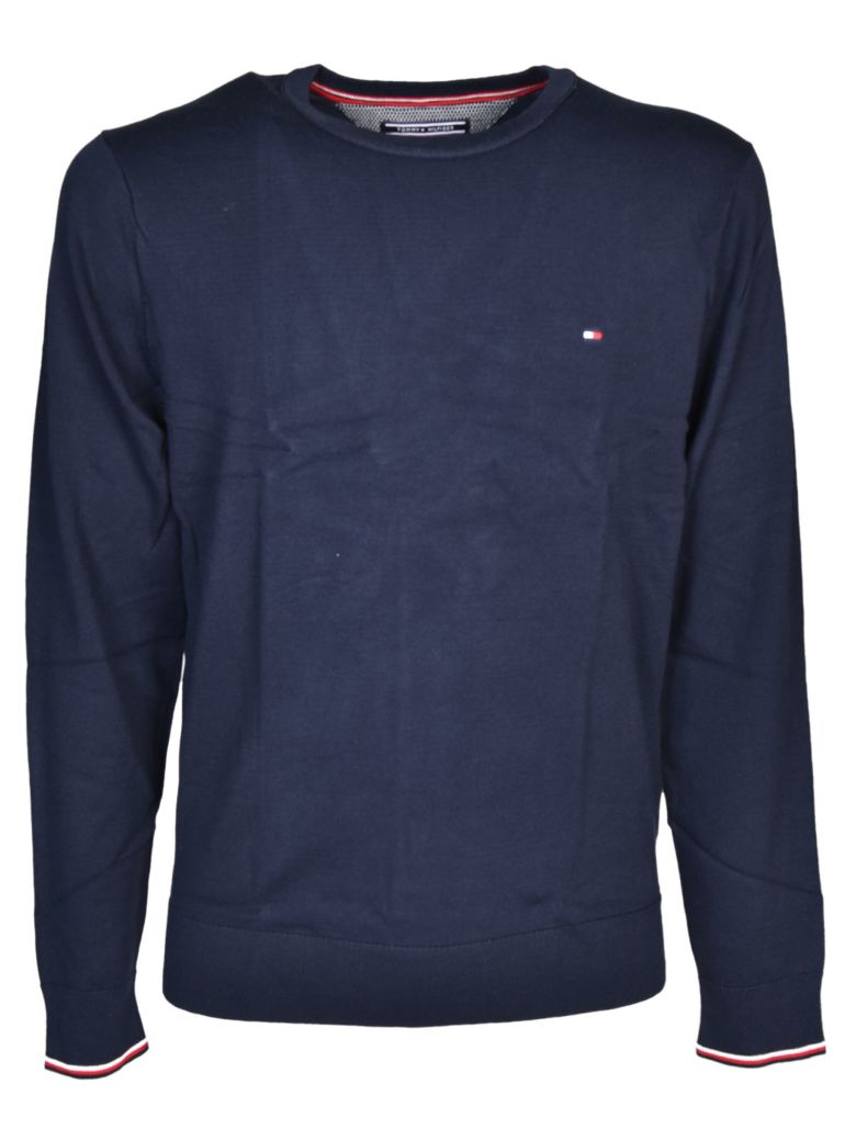 Tommy Hilfiger Logo-Embroidered Cotton Sweatshirt In Sky Captain