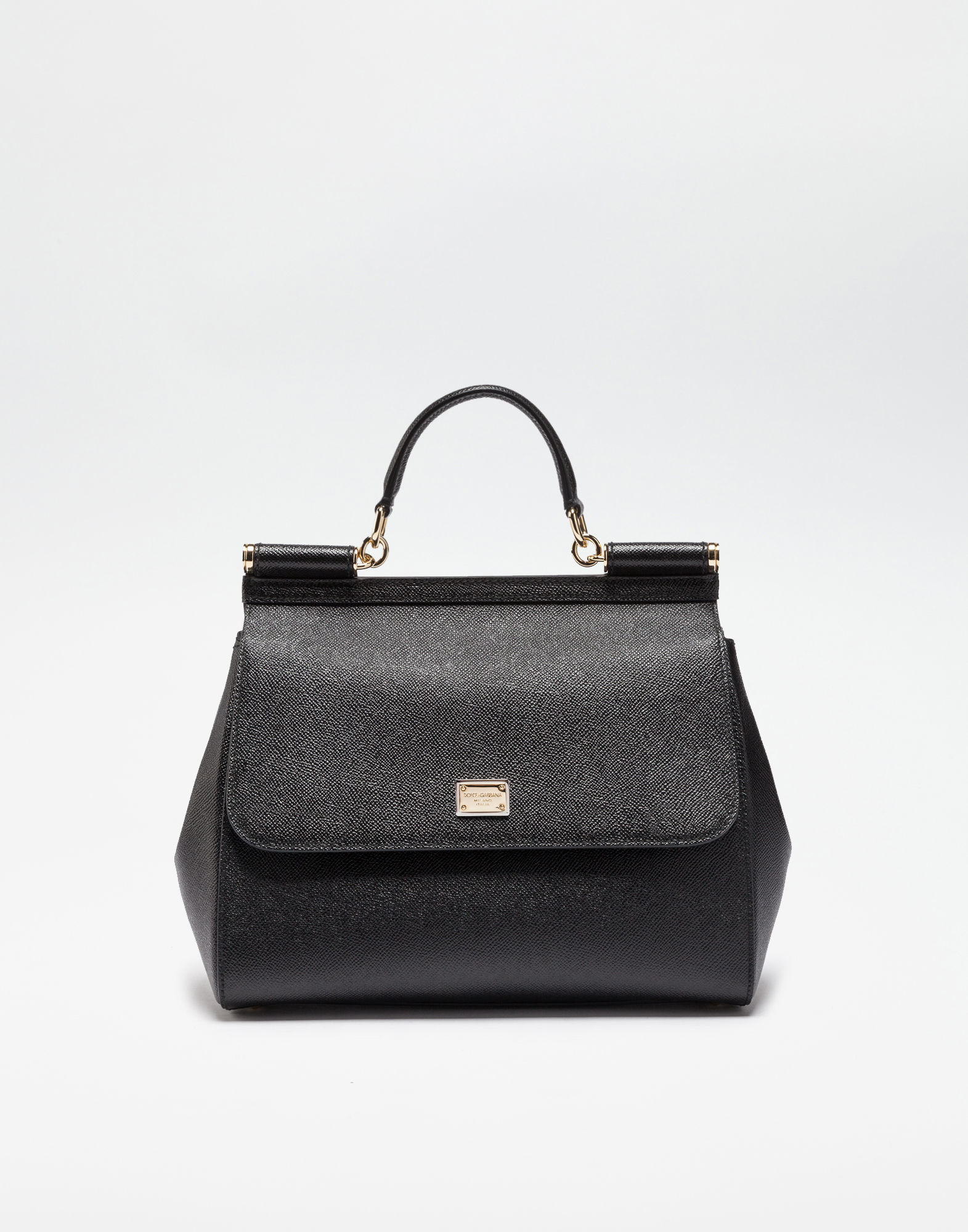 Dolce & Gabbana Medium Sicily Handbag In Dauphine Leather In Black