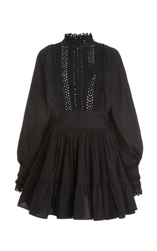 Bytimo Broderie-anglaise Organic Cotton Mini Dress In Black