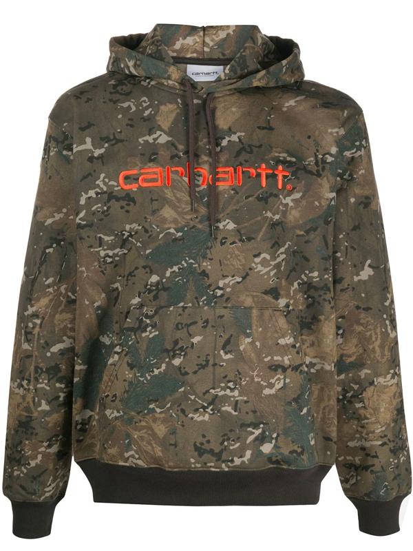 Carhartt Camouflage-print Hoodie In Green