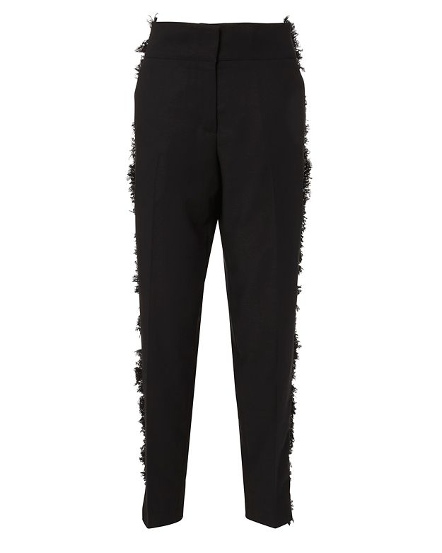Derek Lam Fringe-Side Tapered Drawstring Pants, Black