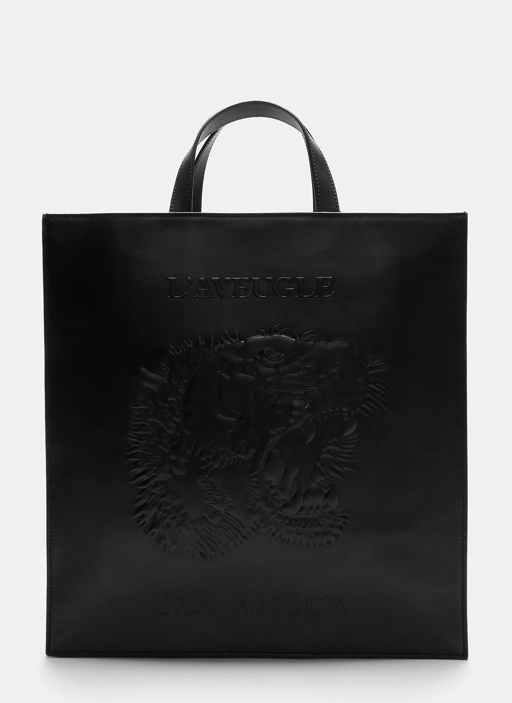 Gucci Men's Embossed Leather L'Aveugle Par Amour Tiger Tote, Black