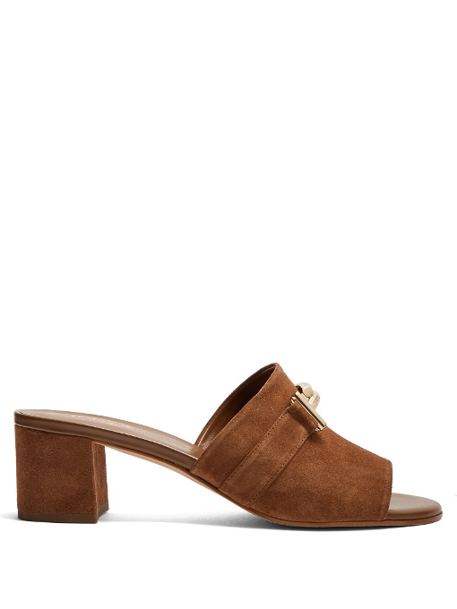 Tod's Suede Double-T Mule Sandal, Brown In Coffee-Brown