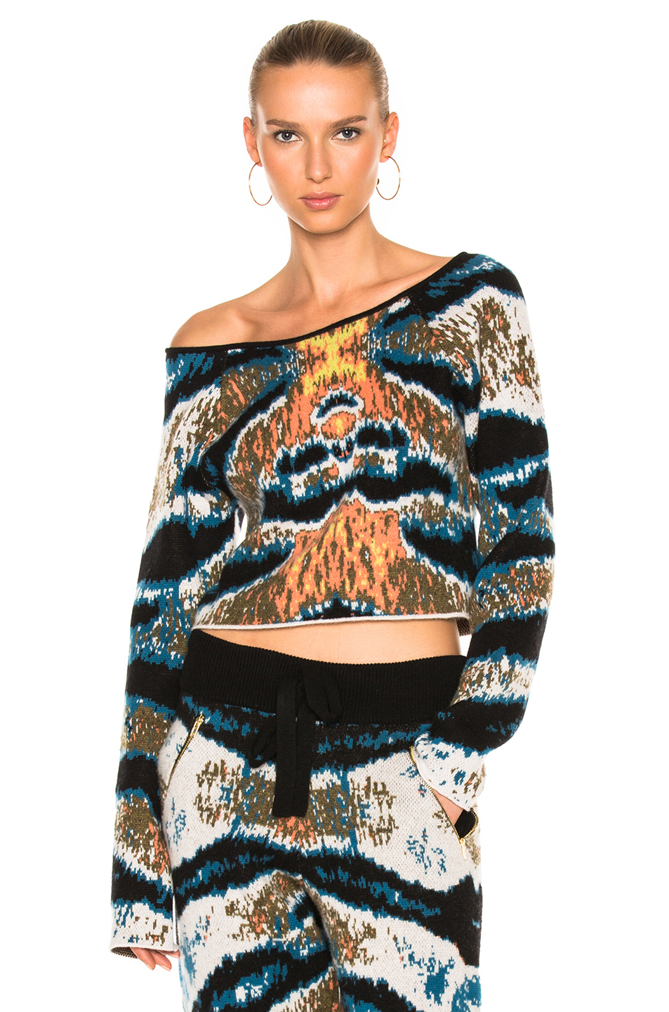 Baja East Cashmere Cropped Tiger Stripe Sweater In Abstract,Black,Blue,Green,White