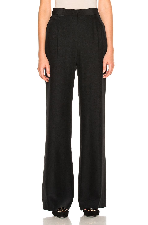 Alberta Ferretti Silk Wide Leg Pants In Black