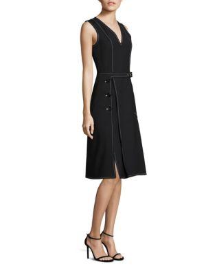 Derek Lam Cotton-Blend Ponte A-Line Belted Dress In Black