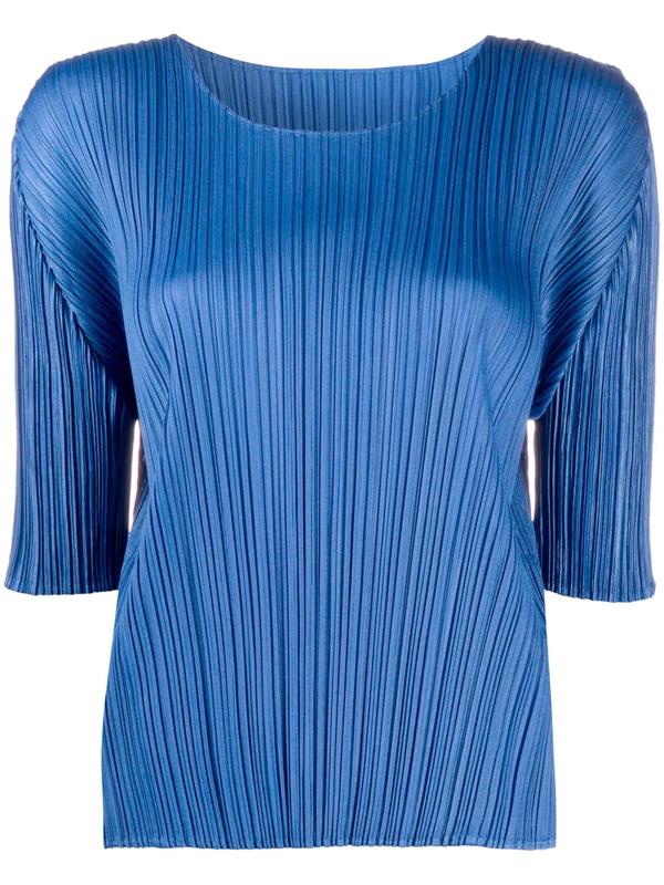 Pleats Please Issey Miyake Pleated Short-sleeve Top In Blue
