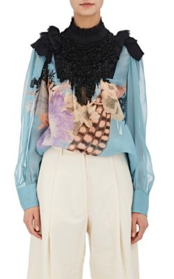 Dries Van Noten Coxe Bis Embellished Silk Blouse In Light Llue