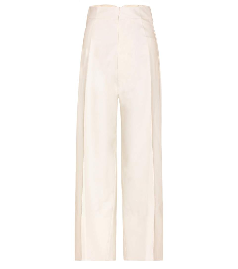 Jacquemus Cropped Cotton Trousers In Ecru