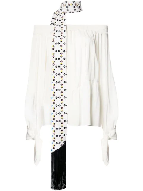 Derek Lam Shirred Silk Off-The-Shoulder Blouse In White
