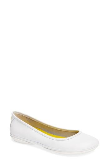 Camper Right Nina Ballet Flat In White Leather