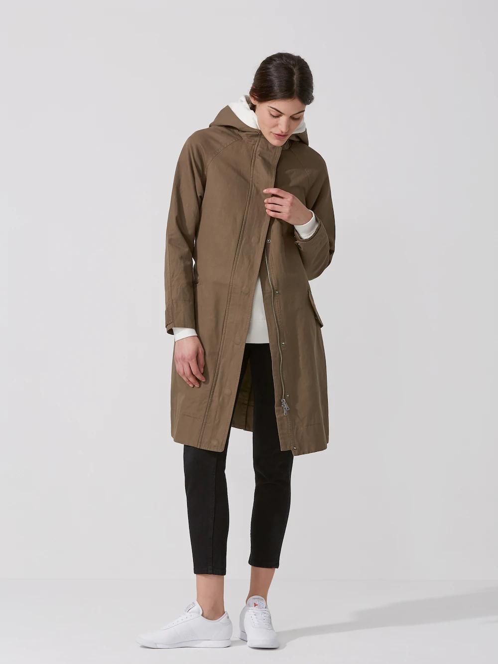 Frank + Oak Cotton-Linen Hooded Anorak In Olive