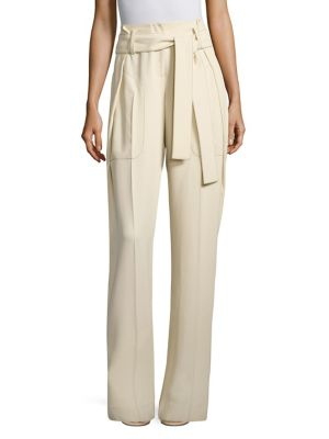 Derek Lam Belted Paperbag-Waist Wide-Leg Trousers, Off White In Chamois
