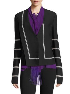 Derek Lam Collarless Lace Blazer In Black