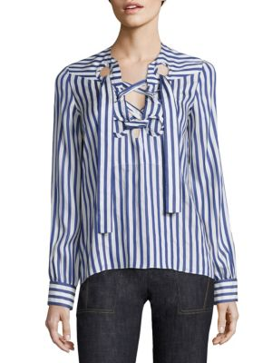 Derek Lam Long Sleeve Lace Up Blouse In Royal Blue