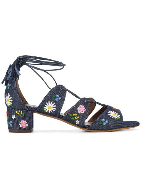 Tabitha Simmons Embroidered Denim Sandals In Blue