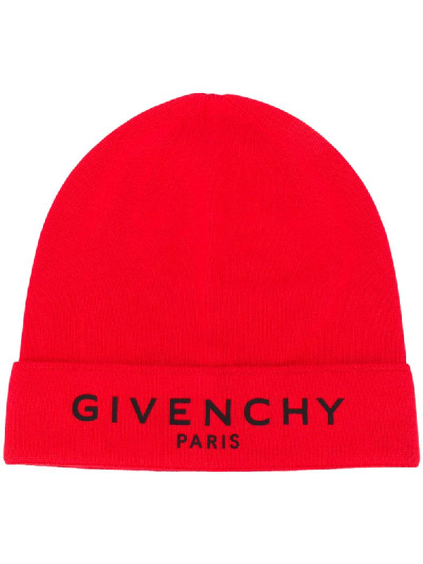 Givenchy Logo Print Beanie In Red
