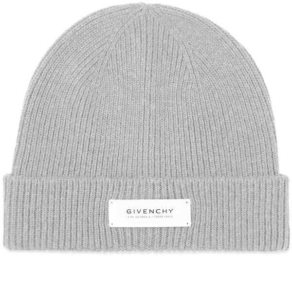 Givenchy Logo Patch Ribbed Beanie In Grey